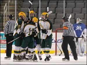 Oregon Clay High School players celebrate a goal during the second period at the Huntington Center.