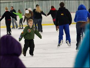 David Schena, 7, went against the flow of skaters.