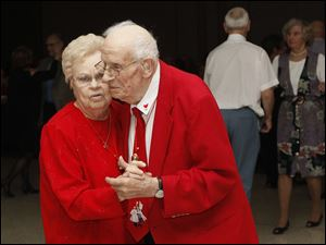 Hellen and Walter Neveara of Northwood, shared a dance at the Jingle Bell Ball.