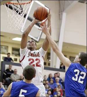 Central Catholic's Nate Harris drives against Anthony Wayne's Grant Fiock. The Irish are 5-0, while the Generals are 6-1.