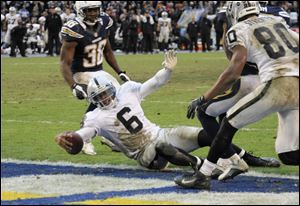 Oakland Raiders quarterback Terrelle Pryor crosses the goal line to score a touchdown against the Chargers during the second half Sunday in San Diego. Pryor threw two touchdown passes and ran for another in his first NFL start, a 24-21 loss.