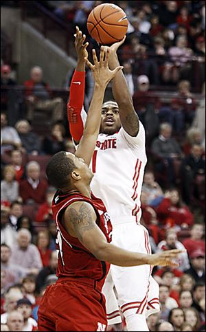 Ohio State's Deshaun Thomas, who scored 22 points, shoots over Nebraska's Dylan Talley.