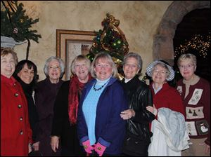 Lois Stack, Judy Reitzel, Albie Romanoff, Carole Nooney, Cary Wise, Norma Weiher, Nancie Roberts, Louise Barkan at the Toledo Bar Association Auxiliary, Gourmet II, Holiday Luncheon.