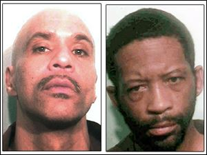 Oscar Banks, left, and Anthony Rayford are being held in jail pending charges related to robberies of two downtown Toledo banks.