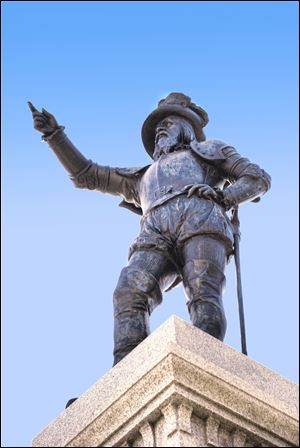 A statue of Spanish explorer Ponce de Leon stands at the foot of the Bridge of Lions in St. Augustine  Plaza de La Constitucion. On April 2,  St. Augustine will unveil another statue of de Leon located at the exact latitude logged by his ship the day before he claimed what he called La Florida as a Spanish territory in April, 1513.