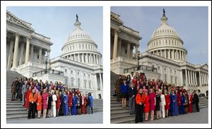 This combo of two photos shows, at left, an Associated Press photo taken Jan. 3, 2013 of House Minority Leader Nancy Pelosi posing with female House members on Capitol Hill in Washington, and at right, a screen grab from Pelosi's Flickr page of an altered photo of Pelosi with female House members on Capitol Hill in Washington. Pelosi is defending the altered picture that was posted on her Flickr social media site.