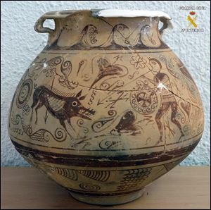 In this picture released by the Spanish Interior Ministry,  a very rare vase from late second century BC that was seized by police after it was found in an antique shop in the town of El Campello, eastern Spain.