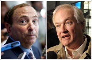 NHL Commissioner Gary Bettman, left, and at right is Donald Fehr, executive director of the NHL Players' Association. The NHL and the players' association said they reached a tentative agreement early today to end a nearly four-month-old lockout.