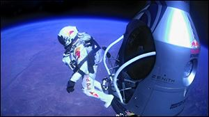 Felix Baumgartner jumps out of the capsule during the final manned flight for Red Bull Stratos. In a giant leap from more than 24 miles up, Baumgartner shattered the sound barrier with a death-defying plunge from a balloon to a safe landing in the New Mexico desert.