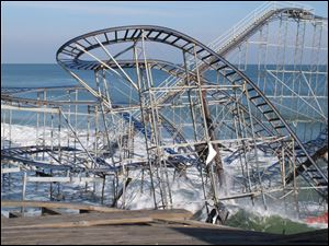 The Jet Star roller coaster, in Seaside Heights N.J., plunged into the ocean when Superstorm Sandy wrecked the amusement pier on which it sat.