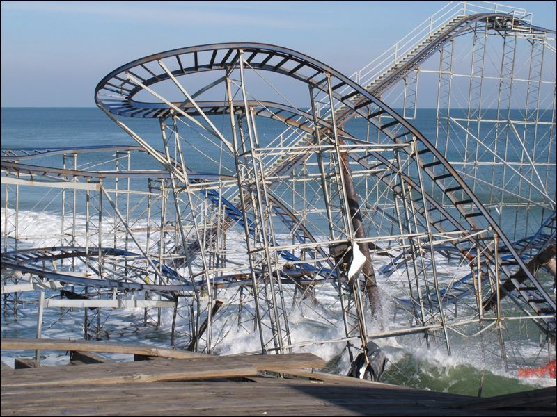 The Jet Star roller coaster, in Seaside Heights N.J., plunged into the