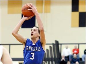 Anthony Wayne's Matt Fox (3) hits a three-point-shot after getting by Perrysburg's Nick Moschetti (24).