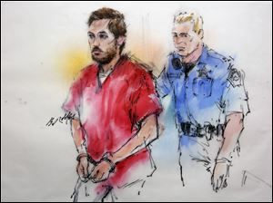 This courtroom sketch shows James Holmes being escorted by a deputy as he arrives at preliminary hearing in district court in Centennial, Colo., on Monday.