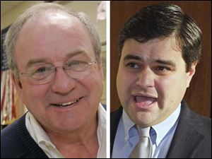A remark made by local union boss Dennis Duffey, left, about Toledo City Council President Joe McNamara, right, has made national headlines.