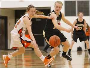 Southview's sophomore Maria Pappas (12) retains control of the ball after an attemptedd steal by Perrysburg's senior guard Maddie Williams (12).