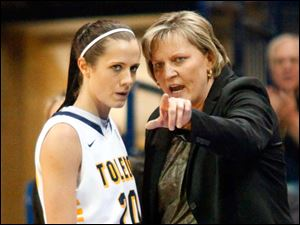 University of Toledo's head coach Tricia Cullop gives direction to Stephanie Recker (20) during the first half of Thursday evening's home game against Central Michigan University.