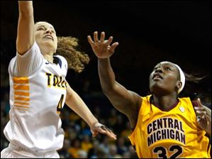 University of Toledo's guard Naama Shafir (4) hooks the ball in over Central Michigan's forward Jas'Mine Bracey (32) during the first half of Thursday evening's home game against Central Michigan University.