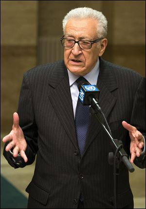 The UN Joint Special Representative for Syria, Lakhdar Brahimi, briefs the media after a meeting with Russian deputy foreign minister Mikhail Bogdanov and U.S. Deputy Secretary of State William Burns today in Geneva.