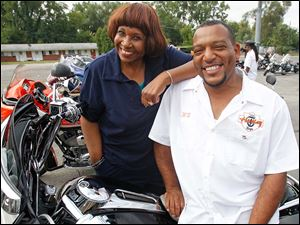 Barbie Harrison, president and CEO of Big Brothers Big Sisters, with Wayne Blanchard, at the Ride for Kid's Sake Motorcycle Run.
