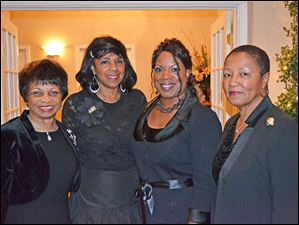 Diane Early, Debbie Barnett, Vallie Bowman-English, and Laneta Goings at the Emerald Ball presented by the Links organization.
