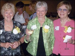 Barbara Napierala Sieja, Cathy Binsack Brandewie, and Kathy Harlett Thornbury at Mercy Reunion 2012.
