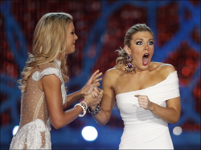 Miss New York, Mallory Hagan Miss New York, Mallory Hagan, right, reacts with Miss South Carolina Ali Rogers as she is crowned Miss America 2013 on Saturday.