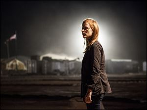"This photo by Columbia Pictures Industries, Inc. shows Jessica Chastain,  as Maya, a member of the elite team of spies and military operatives who secretly devoted themselves to finding Osama Bin Laden in the movie ""Zero Dark Thirty."""