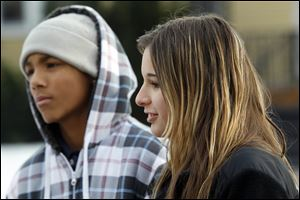 Billy Henthorne, 15, left, and Rachel Dresher, 14, have experienced violence or know someone who has.