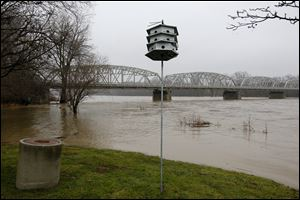 Portions of Memorial Park and the surrounding lowlands were submerged Sunday as the Maumee River crested its banks in Waterville. The National Weather Service has issued flood warnings.