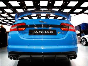 The rear of a Jaguar XF-RS.