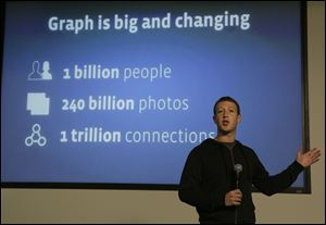 "Facebook CEO Mark Zuckerberg speaks about Facebook Graph Search at a Facebook headquarters in Menlo Park, Calif.. Called ""graph search,"" the new service lets users search their social connections for information about their friends' interests, and for photos and places."