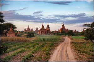 The sun sets over some of the pagodas in Bagan, Myanmar.