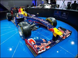 The Infiniti Red Bull Formula One race car on display at the North American International Auto Show.