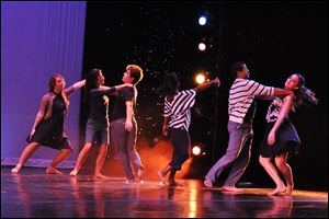 Dancers perform at the Wolfe Center Theatre, Bowling Green State University.