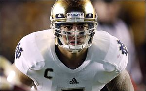 Notre Dame linebacker Manti Te'o waits for the snap during the second half of their NCAA college football game against Boston College in Boston