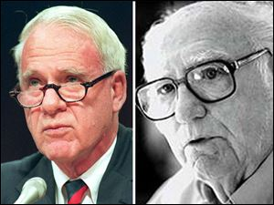James R. Schlesinger, left, former Energy Secretary, cited safety risks as reasons to continue production. Martin Powers, right, former beryllium executive, helped lead industry's attack on stricter safety standards.