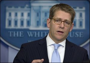 White House press secretary Jay Carney speaks during his daily news briefing at the White House in Washington.