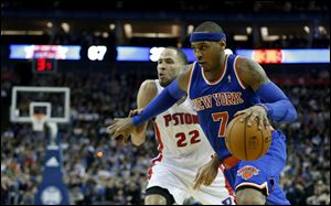 New York Knicks forward Carmelo Anthony had 26 points in the game leading the Knicks to a 102-87 win over Detroit today in London.