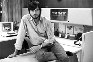 Actor Ashton Kutcher as Steve Jobs in the film, 'jOBS,' directed by Joshua Michael Stern.