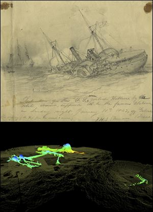 A view of the USS Hatteras as it fought and sank in 1863, depicted in a drawing by Civil War artist Francis H. Schell, above a 2012 high-resolution 3-D sonar image from the National Oceanic and Atmospheric Administration.