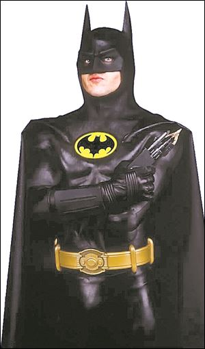 Michael Keaton in the bat suit he wore in Tim Burton's 'Batman' was designed by Burnham.