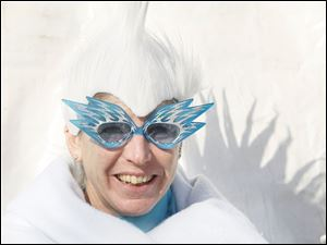 Denise Dashner of Temperance  is ready to take the plunge in her costume. The plunge was done in a pool since there wasn't enough water in Lake Erie to plunge into.