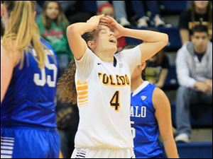 Toledo's Naama Shafir reacts after being called for her second foul with under five minutes left in the game.