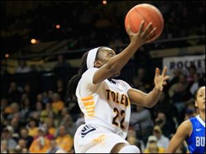 UT's Andola Drtch drives in for a layup in the second half. She scored a game-high 20 points against the Bulls.
