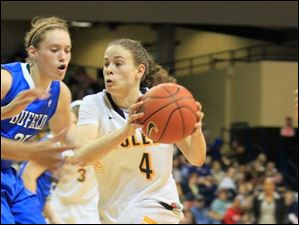 UT's Naama Shafir drives past UB's Kristen Sharkey.