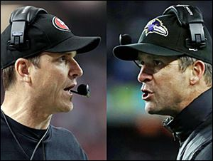 Get ready for the Brother Bowl: It'll be Harbaugh vs. Harbaugh when Big Bro John's, right, Baltimore Ravens (13-6) play Little Bro Jim's San Francisco 49ers (13-4-1) in the Super Bow