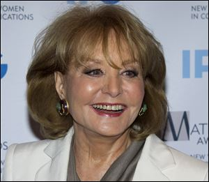 Veteran ABC newswoman Barbara Walters has fallen at an inauguration party at an ambassador's home in Washington and has been hospitalized.