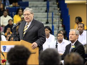Dr. Lloyd Jacobs, M.D., president of the Unversity of Toledo, welcomes attendees.