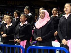 Students from Ella P. Stewart Academy recite their pledge during the event. The students, all sixth graders, are, from left: Jayona Wren, Taylor Hughes, Najae Pettaway, Imani Hicks, and Jayla Edwards.