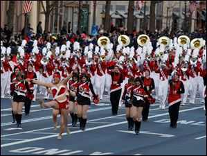 The Miami University, Ohio, Marching Band marching band performs during President Barack Obama's inaugural parade.